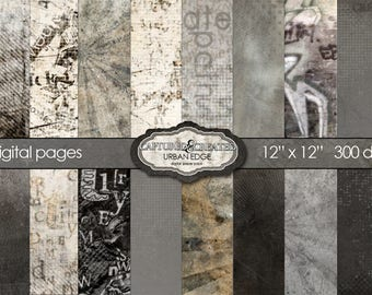 Urban Edge Mega 20 Scrapbook Digital Papers *** Instant Downloads***