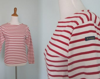 Vintage Authentic French Breton Top in Red and White - Classic 80s Breton Striped Tee from Le Minor - Vintage 1980s Shirt XS S