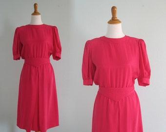 Vintage Silk Dress - Sweet 80s Bright Pink Back Button Silk Dress by Maggy London - Vintage 1980s Dress M
