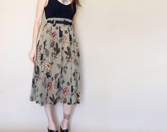 vintage SILK floral ELLEN TRACY midi skirt S