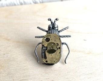 Beetle Tie Tack, Steampunk Bug Tie Tack, Beetle Brooch, Steam Punk Bug, Insect Jewelry, Watch Movement Bug, Guy Gift, Metamorphosis
