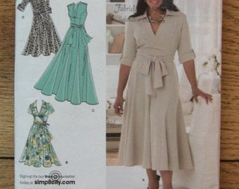 2008 simplicity pattern 2981 misses dress in 2 lengths bodice variations plus size 18W-24W uncut patterns  included for B,C,D cup sizes