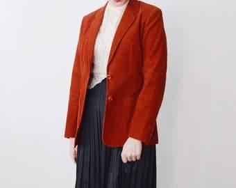 1970s/1980s Rust Orange Corduroy Blazer - S/M