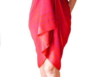 Sarong PLUS SIZE Clothing Swimwear Batik Sarong Wrap Skirt or Dress Plus Size Swimsuit Cover Up Extra Long Orange & Purple Spiral Pareo