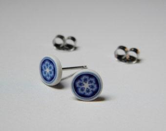 Little Millefiori Blue and White Delft Pattern Post Earrings