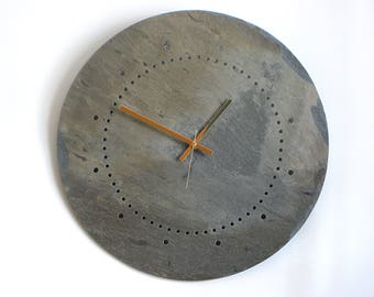XL Minimalist WALL OOAK Clock—Fathers Day Salvaged Slate Hanging Clock—Wedding Registry Housewarming Gift—Ardoise Horloge/Reloj Pizarra Gris