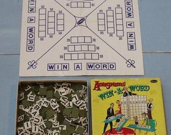 Vintage Anagram Game Cardboard Letters