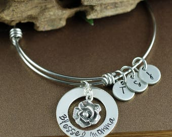 Mothers Day Jewelry, Personalized Charm Bracelet, Gift for Mom, Mothers Day Gift, Initial Bracelet, Blessed Momma Bracelet, Mothers Bracelet