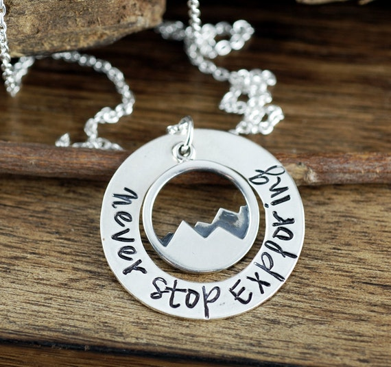 Never Stop Exploring, Mountain Necklace, Nature Jewelry, Pine Tree Necklace, Tree and Mountain Necklace, Adventure Jewelry