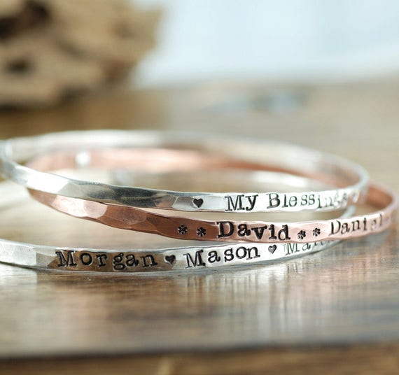 Personalized Bangle Bracelet, Mother's Bracelets, Personalized Bangle Bracelet, Gift for Mom, Stamped Name Bangle Bracelet, Annie Reh