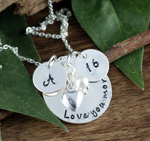 Personalized Sweet 16 Jewelry, Hand Stamped Jewelry, Personalized Necklace, Birthstone Jewelry, Gift for Her, Love you More Necklace,