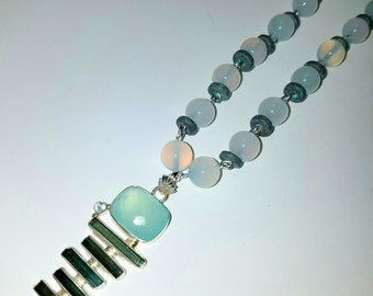 Tourmaline and Chalcedony Necklace