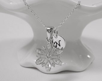 Personalized Sterling Silver and CZ Snowflake Necklace, Personalized Snowflake Necklace, Christmas Necklace, Christmas Gift, Gift for Her