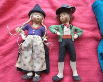 Two Vintage Whistling Dolls, Austria, Handpainted Celluloid Faces, Stockings, Slippers, Oriignal Baitz tags
