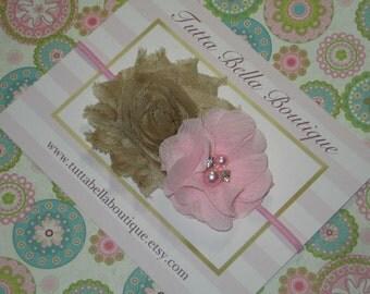 Pink and Khaki Headband, Baby Headband, Baby Hair Bow, Pink Headband, Baby Headbands, Toddler Headband, Newborn Headband, Tan and Pink Bow