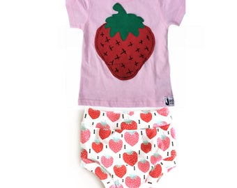 Strawberry Kid's & Baby Tee   Strawberry Bummies   Strawberry Outfit   Summer Outfit   Girls Fashion   Toddler Fashion   Upcycled