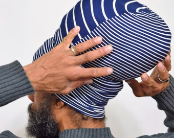 Navy & White Stripe EZ Wrap - Locs - Rasta - Hair Covering - Choose a Height