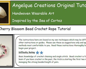 Japanese Cherry Blossom Bead Crochet Bracelet Rope PDF Angelque Creastions Original Pattern