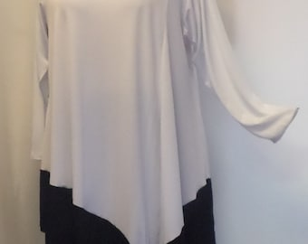 Coco and Juan, Plus Size Tunic, Lagenlook White and Black Angel Tunic Top, Size 1  (fits 1X,2X)   Bust 50 inches