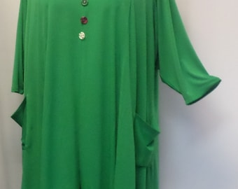 Plus Size Tunic Top, Coco and Juan, Lagenlook, Spring Green, Traveler Knit Trapeze, Women's Tunic, Size 2 (fits 3X/4X) 60 inches
