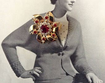 ON SALE:  Vintage Flower Brooch, Gold Flower Pin Embellished with Red and Clear Crystal Rhinestones