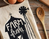 Farm Fresh in natural, Hand-lettered Flour Sack Tea Towel, Kitchen Towel, Housewarming Gift, Hostess Gift, Illustration, Rustic, Barn