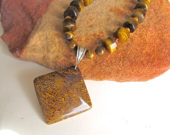 Script Stone Necklace w Tiger's Eye and Sterling