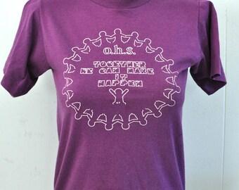 Vintage 80s TShirt Super Soft and Thin Purple OHS TShirt SMALL