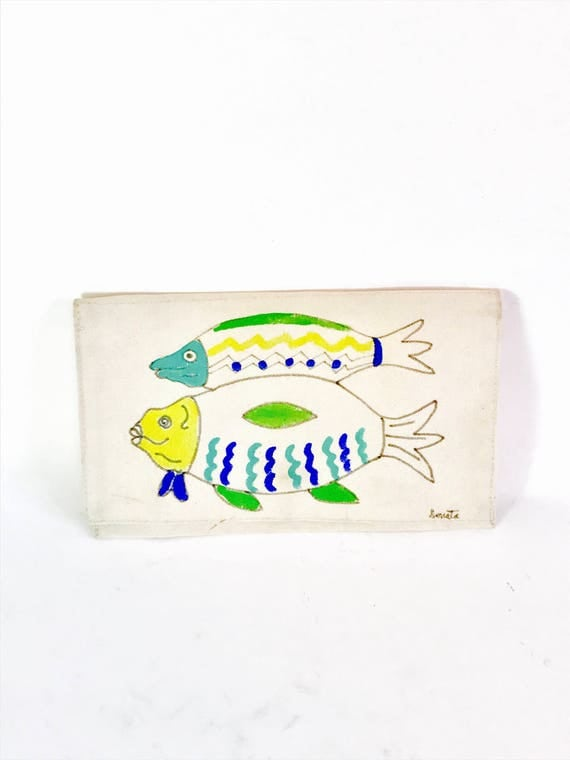 Vintage 1980s Cloth Envelope Clutch Bag Hand Painted Fish Canvas Fold Over Snap Flap Cotton Fabric Handmade 80s Purse Artist Signed Donata