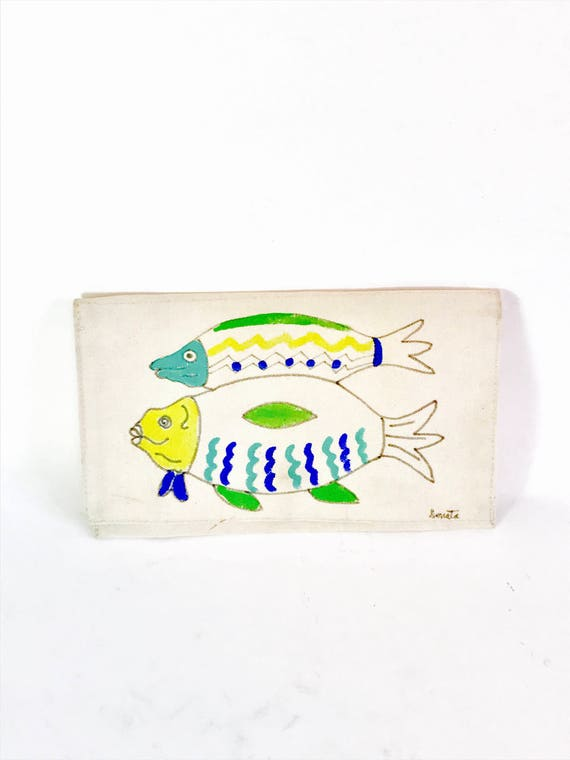 Hand painted purse, 80s envelope clutch, Blue Ocean Fish, Canvas clutch purse, Cloth Fold Over bag, Handmade 1980s bag, Artist Signed bag