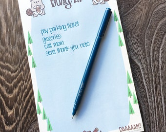 NEW! Funny Handlettered Beavers Busy AF Adulting Tasks Desk Office Notepad | Co-worker Gift | Stocking Stuffer | 50 Sheets | kiss and punch