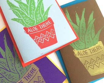 Aloe There Funny Linocut Greeting Card, Just Because Card, All Purpose Card, Hello, Succulent lover, Plant Gift,  Funny Birthday Card