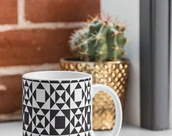 Geometric Mug // Black & White // Ceramic Mug // Coffee Cup // Tea Cup // Kitchen Decor // Drinkware // Cup // Home Decor // Rhythm Design