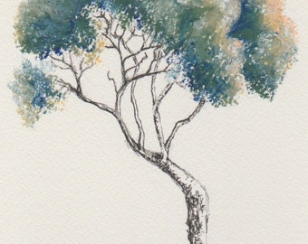 Original tree drawing ~ oil pastel and ink
