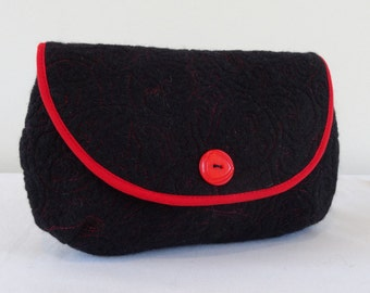 Handmade felt clutch bag in black with red stitching, medium sized. Designer made.