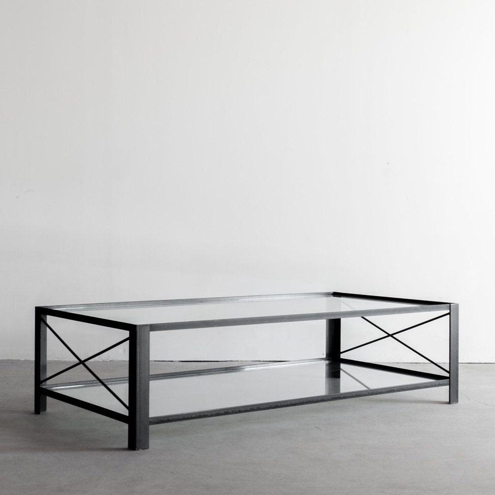 Chambers Industrial Steel And Glass Coffee Table