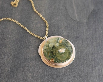Forestry Pendant Rainforest Jasper Sterling Silver 14 Karat Gold Fill Large Contemporary Pendant Custom Chain Forest Olive Green Mixed Metal