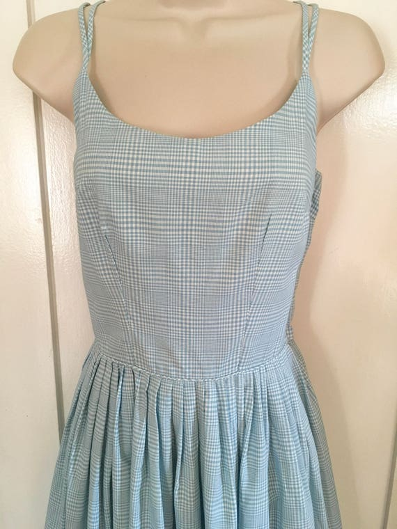 1950s Sweet FRITZI of California Blue and White Gingham Sleeveless Cotton Summer Dress-XS
