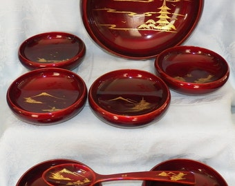 Vintage S. T. (Japan) Lacquerware Dark Red & Gold Hand Painted Salad Bowl Set 9-Pieces in Original Hinged Case