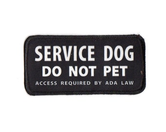 """Clearance Sale: Service Dog Do Not Pet Access Required Sew-On Patch - 2.5"""" x 5"""" - FLAWED- 50% OFF! ( stains )"""