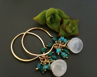 Bohemian Turquoise Earrings - Moonstone and turquoise earrings, gold earrings, wedding jewelry, gift for her, everyday jewelry, Hawaiian