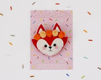 Red Fox Felt Brooch with Flower Crown, Woodland Accessory