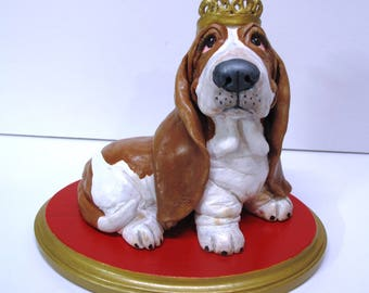 "Basset Hound Sculpture - ""All hail to the Queen!""One-of-a-Kind Piece Handsculpted in Paper Clay"