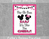 Put On Your Ears, It's Time For Cheers, Minnie Mouse, Disney Party, Birthday Party, Shower, Ears, Theme, Printable, Download, DIY, Wall Sign