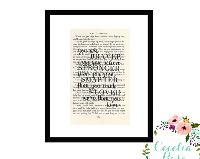 You Are Braver Than you Believe Stronger Than You Seem Smarter Than You Think Winnie The Pooh Vintage Book Page Art Box Frame or Print