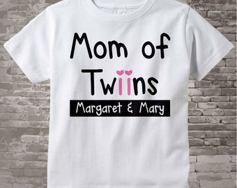 New Mom Gift, Personalized Mom of Twin Girls Adult Tee shirt 08032015a
