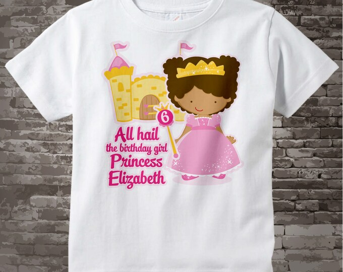 Sixth Birthday Shirt African American Princess Personalized 6th Girl Tshirt
