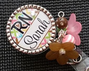 Personalized ID Badge Reels- Rn Lvn Cna - Medical - Mod Design with Swavorski Rhinestone
