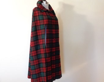 60s Frank Bros San Antonio Wool Red and Green Plaid Button Front Cape