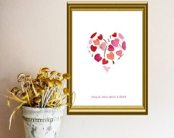 Heart art print, Personalized art, Pink, Orange, red, anniversary, valentine day, birthday, girly, mothers day, weddings, save the date